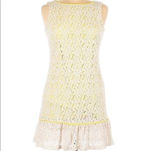 Tired Lace Dress - Off white & Neon